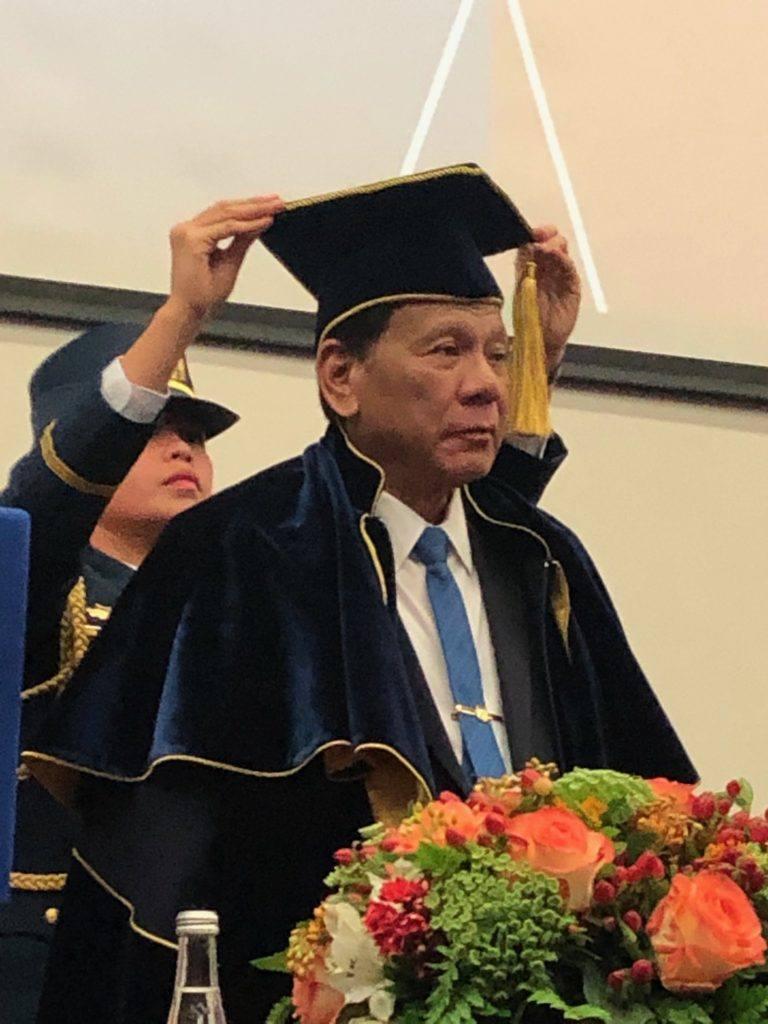 President Rodrigo Duterte receives honorary doctorate degree in Moscow, Russia.