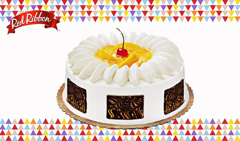 red ribbon peach mango symphony cake